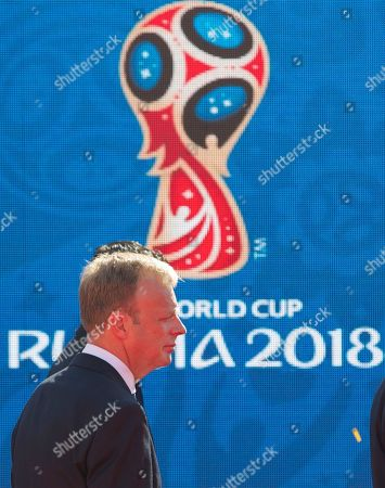 Colin Smith FIFA's Colin Smith walks in Red Square after the ceremony marking 1,000 days to the 2018 World Cup in Moscow, Russia, . Russia marked 1,000 days to go until the 2018 World Cup on Friday, but FIFA Secretary General Jerome Valcke was absent after being suspended from his duties