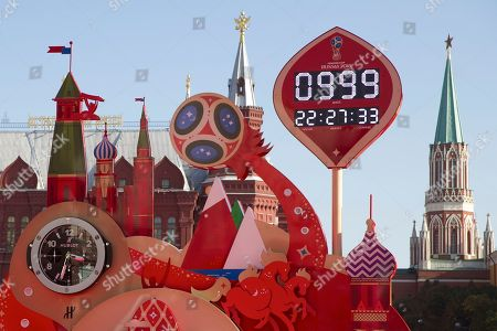 A clock counting down to the first match of the 2018 World Cup is installed on Manezh Square outside the Kremlin in Moscow, Russia, . Russia marked 1,000 days to go until the 2018 World Cup on Friday, but FIFA Secretary General Jerome Valcke was absent after being suspended from his duties