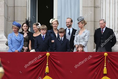 Duchess of Gloucester, Columbus Taylor, Lady Nicholas Windsor (formerly Paola Doimi di Delupis), Cassius Taylor, Lord Nicholas Windsor, Lady Helen Taylor, Eloise Taylor and the Duke of Gloucester
