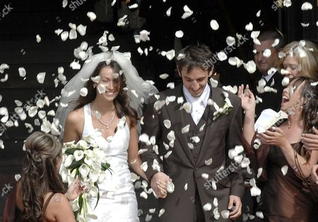Stock Image of Gary and Emma Neville on the Cathedral steps after their wedding service.