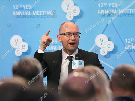 """Arseniy Yatsenyuk Ukrainian Prime Minister Arseniy Yatsenyuk speaks during the 12th annual meeting entitled """"At Risk: How New Ukraine's Fate Affects Europe and the World"""" organized by the Yalta European Strategy (YES) in partnership with the Victor Pinchuk Foundation at the Mystetsky Arsenal Art Center in Kiev, Ukraine, . More than 200 leaders from politics, business and society representing more than 20 countries will discuss major global challenges and their impact on Europe, Ukraine and the world"""