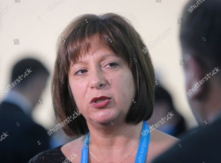 """Stock Photo of Natalie Jaresko Ukraine's Minister of Finance Natalie Jaresko speaks during the 12th annual meeting entitled """"At Risk: How New Ukraine's Fate Affects Europe and the World"""" organized by the Yalta European Strategy (YES) in partnership with the Victor Pinchuk Foundation at the Mystetsky Arsenal Art Center in Kiev, Ukraine, . More than 200 leaders from politics, business and society representing more than 20 countries will discuss major global challenges and their impact on Europe, Ukraine and the world"""