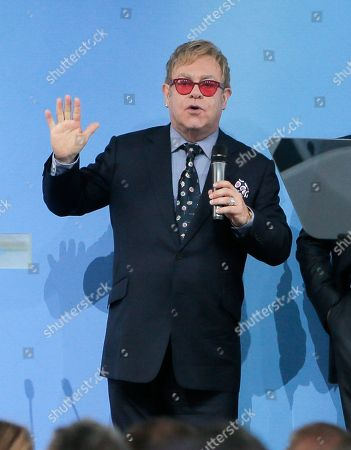 """Stock Image of Elton John Sir Elton John speaking during the 12th Annual Meeting entitled """"At Risk: How New Ukraine's Fate Affects Europe and the World"""" organized by the Yalta European Strategy (YES) in partnership with the Victor Pinchuk Foundation at the Mystetsky Arsenal Art Center in Kiev, Ukraine, . Sir Elton John delivered a keynote speech about the role of business in promoting human rights. More than 200 leaders from politics, business and society representing more than 20 countries will discuss major global challenges and their impact on Europe, Ukraine and the world"""