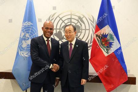 Ban Ki-moon, Michel Joseph Martelly Haiti President Michel Joseph Martelly, left, meets United Nations Secretary-General Ban Ki-moon, at U.N. Headquarters