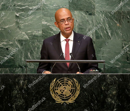 Stock Image of New York, Michel Joseph Martelly President of Haiti, Michel Joseph Martelly speaks during the 70th session of the United Nations General Assembly at U.N. headquarters