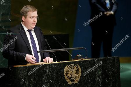 Sigmundur Davio Gunnlaugsson Prime Minister of Iceland Sigmundur Davio Gunnlaugsson addresses the Sustainable Development Summit 2015, at United Nations headquarters