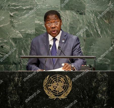 New York, Boni Yayi Boni Yayi, President of Benin, addresses the 2015 Sustainable Development Summit, at United Nations headquarters