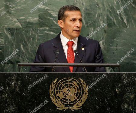 New York, Ollanta Humala Tasso Peruvian President Ollanta Humala Tasso addresses the 2015 Sustainable Development Summit, at United Nations headquarters