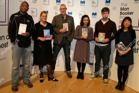 """Stock Picture of The Man Booker prize short list writers pose for the media, with the books,they are from the left-Paul Beatty, """"The Sellout"""", Deborah Levy, """"Hot Milk"""" Graeme Macrae Burnet, """"His Bloody Project"""", Ottessa Moshfegh """"Eileen"""", David Szalay """"All That Man Is"""", and Madeleine Thien, """"Do Not Say We Have Nothing"""", during a photocall for the Man Booker Prize for fiction in London,. This will be the third year the £50,000 (61,000 US$), prize has been open to any writer, writing originally in English and published in the UK, irrespective of nationality"""