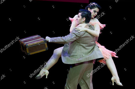 Juan Bulich and Rocio Garcia of Argentina compete in the stage category at the World Tango Championship final in Buenos Aires, Argentina