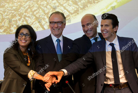Nawal El Moutawakel, Carlos Arthur Nuzman, Sidney Levy, Christophe Dubi Nawal El Moutawakel, head of the International Olympic Committee's evaluation commission, left, Brazil Olympic Committee President Carlos Arthur Nuzman, second left, Rio 2016 Committee Chief Executive Officer Sidney Levy, third left, and Olympic Games Executive Director Christophe Dubi pose for a photo after a press conference in Rio de Janeiro, Brazil, . The IOC ends a three-day visit to Rio de Janeiro to check on preparations for the Olympics