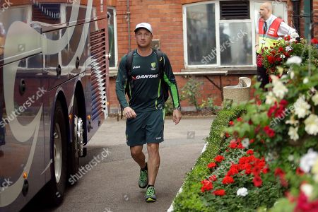 Australia wicketkeeper Brad Haddin walks to leave on the team bus after taking part in a training session at Lord's cricket ground in London, . Australia are due to play England in their second cricket test match of the five match Ashes series at Lord's starting on Thursday