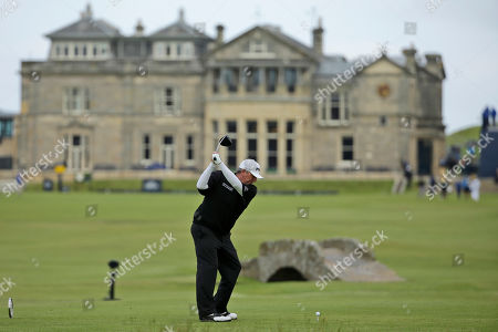 United States' Mark Calcavecchia plays from the 18th tee during the first round of the British Open Golf Championship at the Old Course, St. Andrews, Scotland