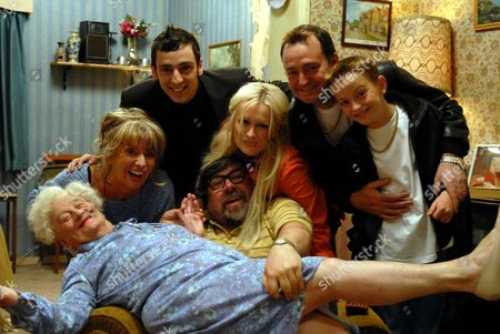 'The Royle Family' Christmas - 2000 L-R: Barbara Royle [Sue Johnston], Norma [Liz Smith], Antony Royle [Ralf Little], Jim Royle [Ricky Tomlinson], Denise Best [Caroline Aherne], David Keanu Ronan Best [Harry Cash], Dave Best [Craig Cash]