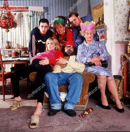 'The Royle Family' Christmas - 2000 Back L-R: Anthony Royle [Ralf Little], Barbara Royle [Sue Johnston] and Dave Best [Craig Cash]. Front L-R: Denise Best [Caroline Aherne, Jim Royle [Ricky Tomlinson] and Norma Speakman [Liz Smith]