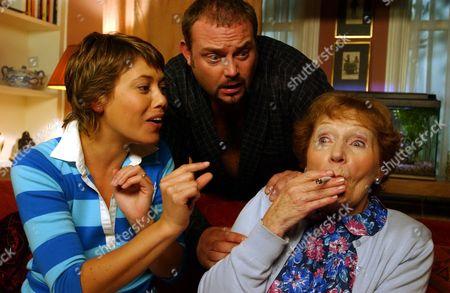 Stock Image of Kimberley Joseph, John Thomson and Doreen Keogh in 'Cold Feet' - 2003