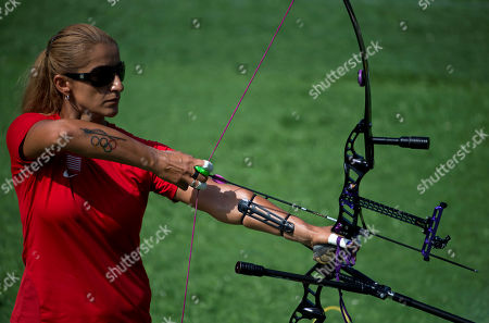 Stock Picture of Khatuna Lorig Khatuna Lorig of the U.S. raises her bow to shoot during a semifinal of the women's individual archery, at the Pan Am Games in Toronto, . She went on to win gold in the event