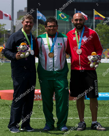 Stock Image of Brady Ellison, Luis Alvarez, Jay Lyon Mexico's Luis Alvarez, center, winner of the gold medal for men's individual archery, poses with silver medalist Brady Ellison, left, of the U.S., and bronze medalist Jay Lyon of Canada, at the Pan Am Games in Toronto