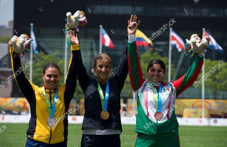 Ana Maria Rendon, Khatuna Lorig, Karla Hinojosa United States' Khatuna Lorig, center, winner of the gold medal for women's individual archery, poses with silver medalist Ana Maria Rendon, left, of Colombia, and bronze medalist Karla Hinojosa of Mexico, at the Pan Am Games in Toronto