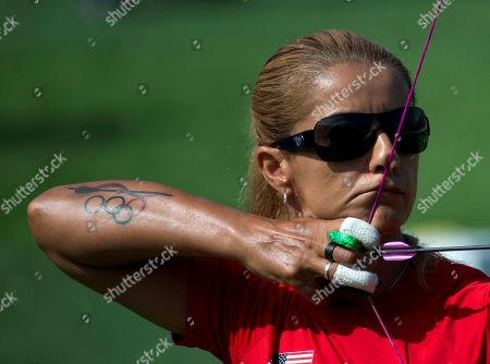 Stock Photo of Khatuna Lorig Khatuna Lorig of the U.S. prepares to fire during a semifinal of the women's individual archery, at the Pan Am Games in Toronto, . She went on to win gold in the event