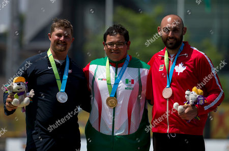 Stock Photo of Brady Ellison, Luis Alvarez, Jay Lyon Mexico's Luis Alvarez, center, winner of the gold medal for men's individual archery, poses with silver medalist Brady Ellison, left, of the U.S., and bronze medalist Jay Lyon of Canada, at the Pan Am Games in Toronto