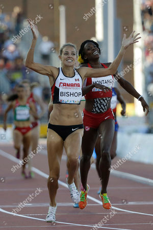 Alysia Montano, Melissa Bishop Canada's Melissa Bishop, left, and Alysia Montano of the United States reacts as they crossing the final line in the final of the women's 800 meter race at the Pan Am Games, in Toronto. Bishop won the gold medal and Montano silver