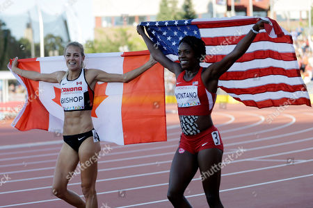 Alysia Montano, Melissa Bishop Canada's Melissa Bishop, left, and Alysia Montano of the United States celebrates with their national flags after the final of the women's 800 meter race at the Pan Am Games, in Toronto. Bishop won the gold medal and Montano silver