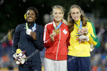 Melissa Bishop, Alysia Montano, Flavia De Lima Women's 800 meter gold medal winner Melissa Bishop, center, of Canada, poses with silver medal winner Alysia Montano, left, of the United States, and bronze medal winner Flavia De Lima, right, of Brazil, during the medal ceremony at the Pan Am Games, in Toronto