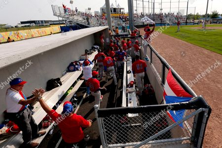 Puerto Rico athletes celebrate after Richard Thon hit a home run off United States pitcher Scott McGregor during the sixth inning of a baseball game at the Pan Am Games, in Ajax, Ontario