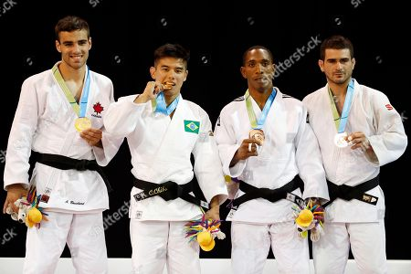 Charles Chibana, Antoine Bouchard, Carlos Tondique, Fernando Gonzalez Men's -66kg judo medalists, from left, Canada's Antoine Bouchard (silver), Brazil's Charles Chibana (gold), Cuba's Carlos Tondique (bronze) and Argentina's Fernando Gonzalez (bronze) pose for photographers at the Pan Am Games, in Mississauga, Ontario