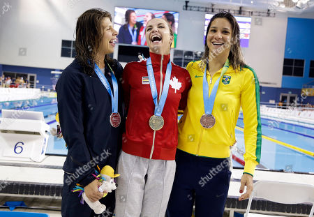 Audrey Lacroix, Katherine Mills, Joanna Maranhao Gold medalist Audrey Lacroix, center, of Canada, poses with silver medalist Katherine Mills, left, of the United States, and bronze medalist Joanna Maranhao, right, of Brazil, after the women's 200-meter butterfly swimming event at the Pan Am Games, in Toronto
