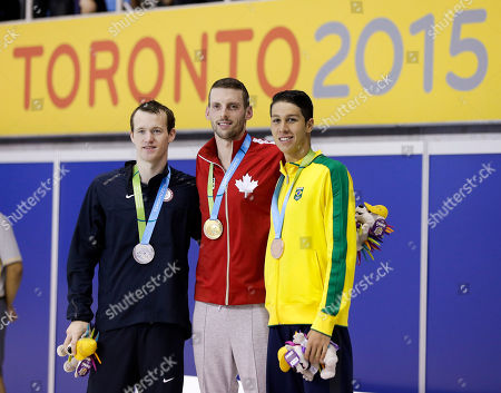 Ryan Cochrane, Andrew Gemmell, Brandonn Almeida Gold medalist Ryan Cochrane, center, of Canada, poses with silver medalist Andrew Gemmell, left, of the United States, and bronze medalist Brandonn Almeida, right, of Brazil, during the medal ceremony for the men's 1500 meter freestyle swimming event at the Pan Am Games, in Toronto