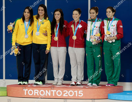 Ingrid De Oliveira, Giovanna Pedroso, Meaghan Benfeito, Roseline Filion, Paola Espinosa, Alejandra Orozco Divers pose with their medals after the women's synchronized 10-meter platform event at the Pan Am Games, in Toronto. From left are silver medalists Ingrid De Oliveira and Giovanna Pedroso of Brazil, gold medalists Meaghan Benfeito and Roseline Filion of Canada, and bronze medalists Paola Espinosa and Alejandra Orozco of Mexico