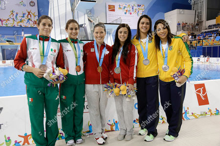 Ingrid De Oliveira, Giovanna Pedroso, Meaghan Benfeito, Roseline Filion, Paola Espinosa, Alejandra Orozco Divers pose with their medals after the women's synchronized 10-meter platform event at the Pan Am Games, in Toronto. From left are bronze medalists Alejandra Orozco and Paola Espinosa of Mexico, gold medalists Roseline Filion and Meaghan Benfeito of Canada, and silver medalists Giovanna Pedroso and Ingrid De Oliveira of Brazil