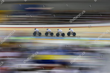 Colombia's Colombia's Maria Luisa Williams, Yeny Colmenares, Jannie Milena Zambrano and Camila Andrea Roa pedals during the women's team pursuit track cycling competition at the Pan Am Games in Milton, Ontario