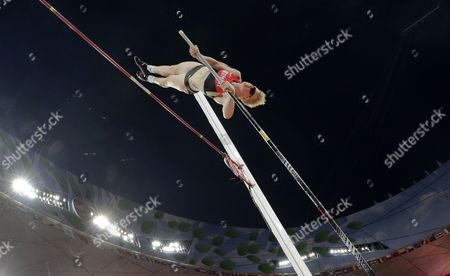Germany's Martina Strutz competes in the women's pole vault final at the World Athletics Championships at the Bird's Nest stadium in Beijing