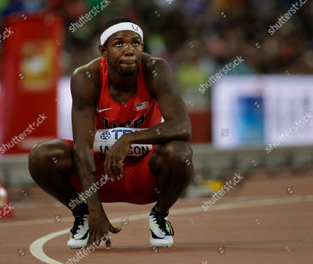 Bershawn Jackson United States' Bershawn Jackson looks at his time following a men's round one heat of the 400m hurdles at the World Athletics Championships at Bird's Nest stadium in Beijing