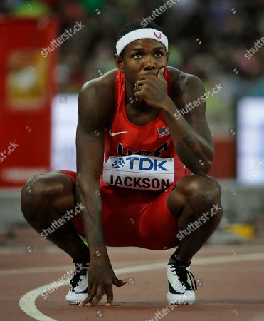 Bershawn Jackson United States' Bershawn Jackson looks at his time in a men's round one heat of the 400m hurdles at the World Athletics Championships at Bird's Nest stadium in Beijing