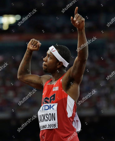 Bershawn Jackson United States' Bershawn Jackson reacts after being introduced for a men's round one heat of the 400m hurdles at the World Athletics Championships at Bird's Nest stadium in Beijing