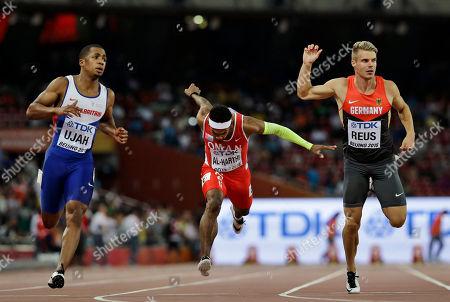 Chijindu Ujah, Barakat Mubarak Al-Harthi, Julian Reus Britain's Chijindu Ujah, left, Oman's Barakat Mubarak Al-Harthi, center, and Germany's Julian Reus run in a men's round one heat of the 100m at the World Athletics Championships at Bird's Nest stadium in Beijing