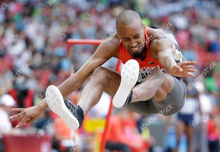 Germany's Alyn Camara competes in men's long jump qualification at the World Athletics Championships at the Bird's Nest stadium in Beijing