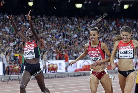 Hyvin Kiyeng Jepkemoi, Habiba Ghribi, Gesa Felicitas Krause Kenya's Hyvin Kiyeng Jepkemoi celebrates after winning the gold medal in the women's 3000m steeplechase final ahead of Tunisia's Habiba Ghribi, centre, silver, and Germany's Gesa Felicitas Krause, bronze, at the World Athletics Championships at the Bird's Nest stadium in Beijing