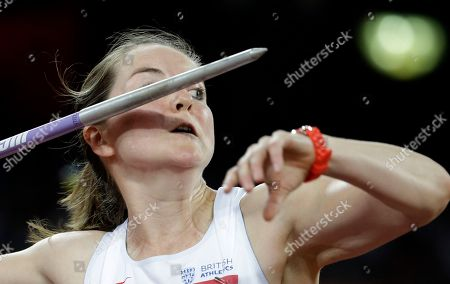 Britain's Goldie Sayers competes in women's javelin throw qualification at the World Athletics Championships at the Bird's Nest stadium in Beijing