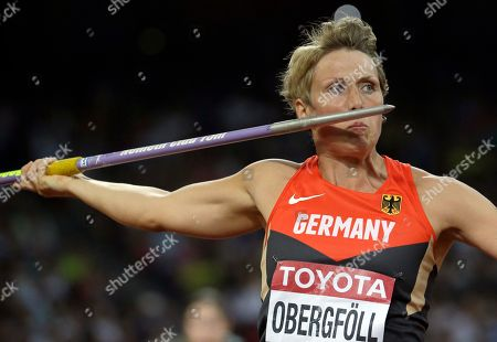 Germany's Christina Obergfoell competes in the women's javelin final at the World Athletics Championships at the Bird's Nest stadium in Beijing