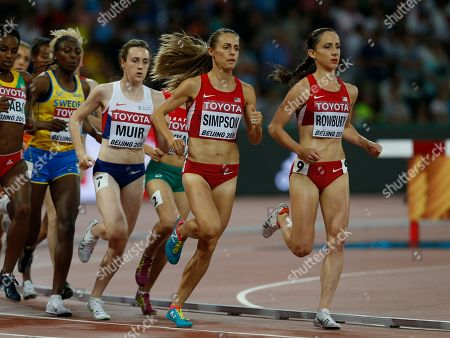 United States' Shannon Rowbury, right, United States' Jennifer Simpson, center, and Britain's Laura Muir compete in the women's 1500m final at the World Athletics Championships at the Bird's Nest stadium in Beijing