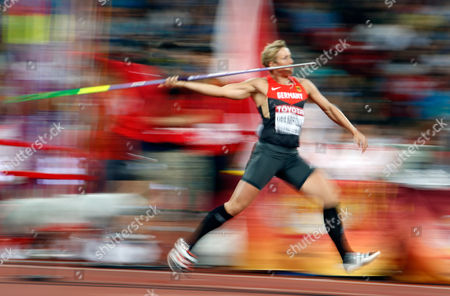 Germany's Christina Obergfoell goes for a throw in the women's javelin throw final at the World Athletics Championships at the Bird's Nest stadium in Beijing