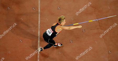 Germany's Christina Obergfoell competes in women's javelin throw qualification at the World Athletics Championships at the Bird's Nest stadium in Beijing