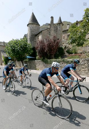 """Lance Armstrong, centre, cycles with members of the team for former England football international Geoff Thomas, not pictured, during the charity ride """"Le Tour, One Day Ahead,"""", between Rodez and Mende central France. While the Tour de France is going, Armstrong takes part to a charity ride called """"Le tour-One Day Ahead"""" with the goal of raising money to cure Leukemia. Former English footballer who won nine caps for England soccer team, Geoff Thamas was diagnosed with Leukemia in 2003 and he founded the Geoff Thomas Foundation to raise funds to fight the disease"""