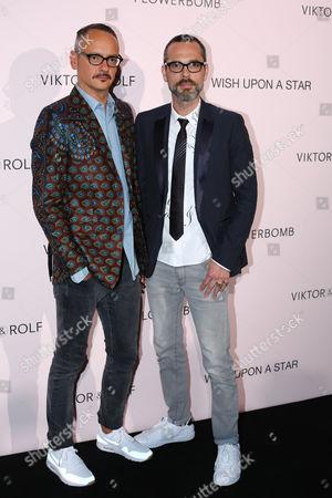 Viktor Horsting, left, and Rolf Snoeren attend the Viktor&Rolf FlowerBomb fragrance 10th anniversary party in Paris
