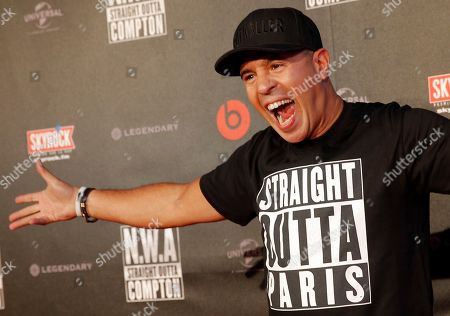 French DJ Cut Killer poses during the French premiere of Straight Outta Compton, in Paris, Monday Aug, 24, 2015. The movie, will open in France on Sept. 16